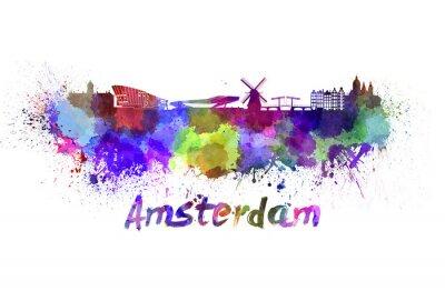 Plakát Amsterdam panorama v akvarelu