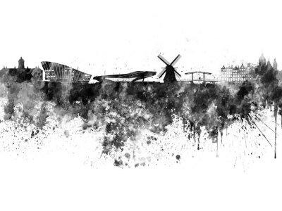 Plakát Amsterdam skyline in black watercolor