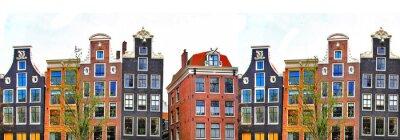Plakát Amsterdam. tradiční domy hranice
