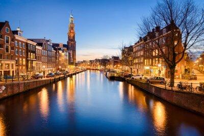 Plakát Amsterdam v noci, Nizozemsko