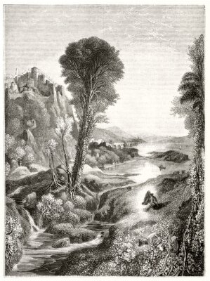 Plakát Ancient grayscale etching style illustration of a majestic natural landscape at sunset with a river leading to the sun. By Marvy after Turner publ. on Magasin Pittoresque Paris 1848