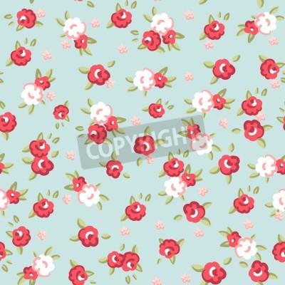 Plakát Angličtina Rose, bezešvé tapety vzor s růžových růží na modrém pozadí, vektorové ilustrace