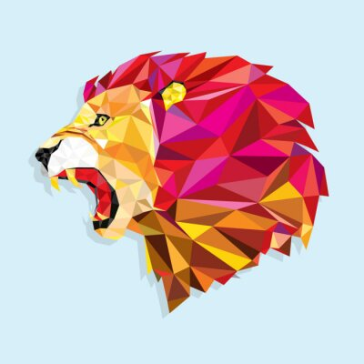 Plakát Angry lion with geometric pattern- Vector illustration