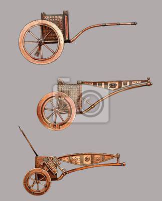 Plakát Antique chariot. Egyptian bronze chariot. Acylic illustration.