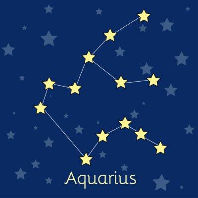Plakát Aquarius vody Zodiac souhvězdí s hvězdami ve vesmíru. vektorový obrázek