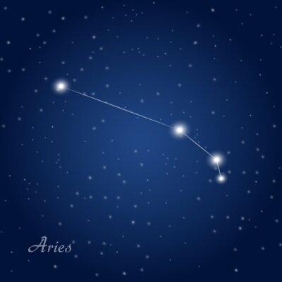 Plakát Aries souhvězdí znamení zvěrokruhu v hvězdné noční obloze