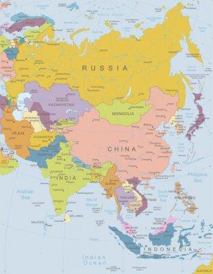 Plakát Asie-vysoce detailní map.Layers používané.
