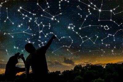 Plakát Astrologie koncept. Souhvězdí na noční obloze. Siluety astrologů pozorování souhvězdí zvěrokruhu.