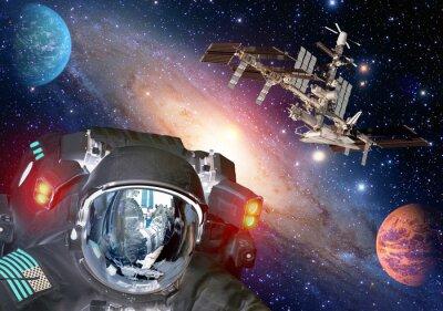 Plakát Astronaut et cizí mimozemské sci fi UFO vesmírné planety kosmická loď. Prvky tohoto obrázku zařízeném NASA.