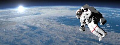 Plakát Astronaut nebo kosmonaut létání na zemi - 3D vykreslování