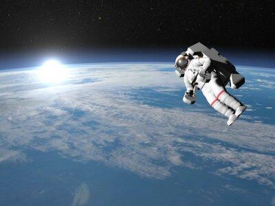 Plakát Astronaut nebo kosmonaut letící na zemi - 3D render