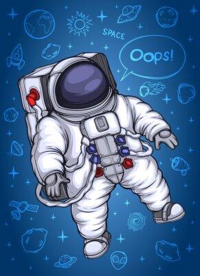 Plakát Astronaut ve vesmíru. Na pozadí kosmických objektů.