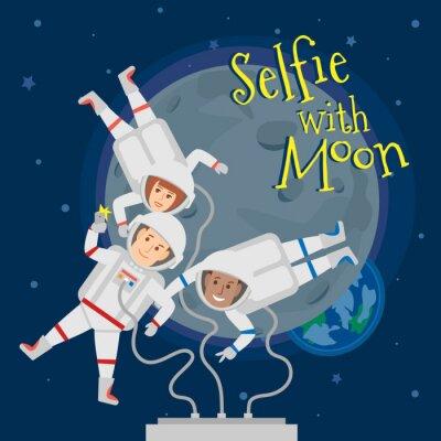 Plakát Astronauti muži a žena ve vesmíru, kteří se selfie portrét s měsíčním .selfie s moon pojetí ilustrace