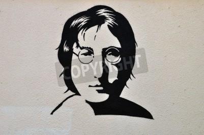Plakát Atény, Řecko - 30.srpna 2014: John Lennon portrét šablona graffiti urban art na texturami zeď.