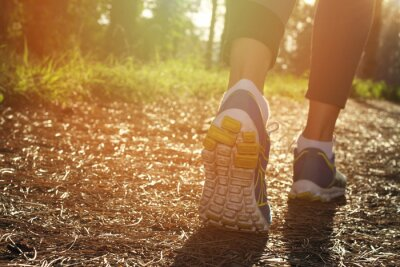 Plakát Athlete runner feet running in nature, closeup on shoe. Woman fitness jogging, active lifestyle concept