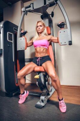 Plakát atraktivní žena v tělocvičně na cvičení stroje