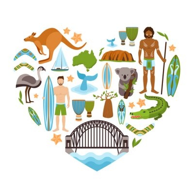 Plakát Australia Heart Shape