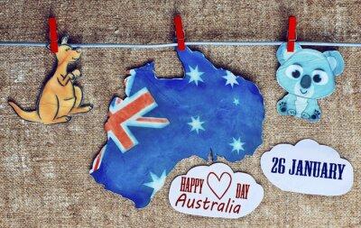 Plakát Austrálie den Concept - pozdrav psaný přes bílé australských mapách, klokanů a koala - závěsné čepy (kohoutku), 26. ledna. tónovaný obraz. sluneční světlo efekt