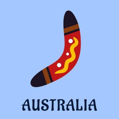Plakát Australská národní izolované barevné bumerang