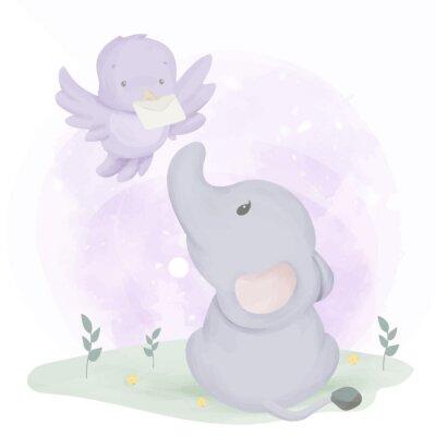 Plakát Baby Elephant Get Mail From Bird