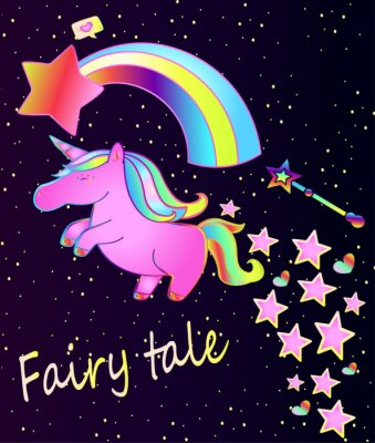 Plakát Baby plakát roztomilý růžový jednorožec s duhou na krásném gradient pozadí s hvězdami a srdce