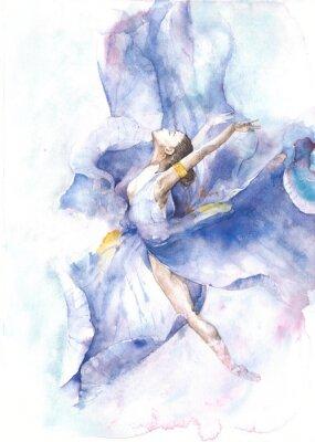 Plakát Baletka akvarel na bílém pozadí blahopřání