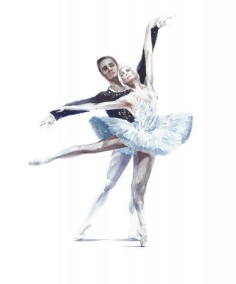 Plakát Ballet dancers swan lake ballet ballerina in white tutu watercolor painting illustration isolated on white background