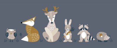 Plakát Banner with cute woodland animals in scandinavian style. Set of nice characters on dark background. Flat vector illustartion.