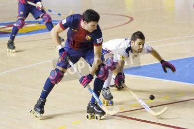 Plakát BARCELONA - JANUARY 26: Sergi Miras of FCB in action at Spanish OK League match between FC Barcelona and Igualada HC, final score 4-5, on January 26, 2013, in Palau Blaugrana, Barcelona, Spain