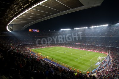 Plakát BARCELONA, SPAIN - DECEMBER 13, 2010: Panoramic view of the Camp Nou, the stadium of Football Club Barcelona team, before the match FC Barcelona - Real Sociedad, final score 5 - 0.