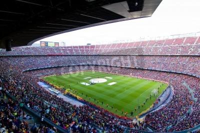 Plakát BARCELONA, ŠPANĚLSKO - 13.května 2011: Neznámí fanoušci FC Barcelona slaví vítězství španělské ligy Mistrovství světa v Camp Nou stadionu.