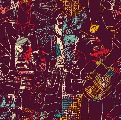 Plakát Barevná hudba jazz band bezešvé vzor.