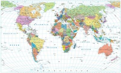 Plakát Barevná mapa světa - hranice, země, silnice a města. Samostatný na bílém