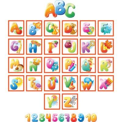 Plakát Barevné abeceda pro děti s obrázky