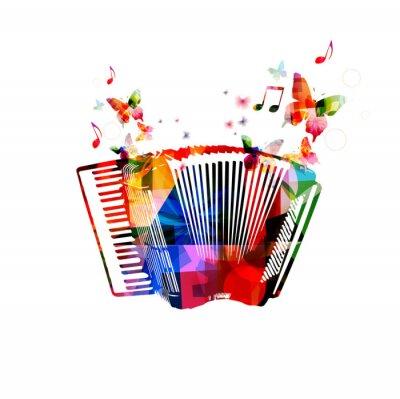 Plakát Barevné akordeon. Hudební nástroje na pozadí s motýly