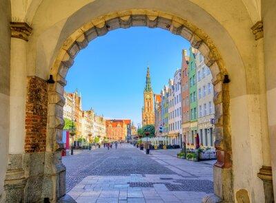 Plakát Barevné gotické fasády pravý staré město Gdaňsk, Polsko