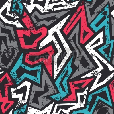 Plakát barevné graffiti bezešvé vzor s grunge efekt
