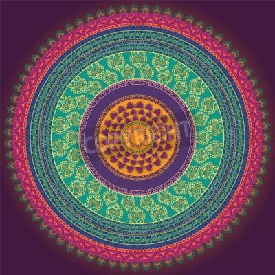 Plakát Barevné Henna Mandala design, velmi propracovaný a snadno upravitelné
