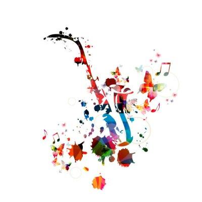 Plakát Barevné hudby na pozadí s saxofon