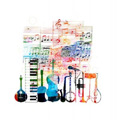 Plakát Barevné hudební nástroje designu