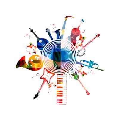 Plakát Barevné hudební nástroje na pozadí