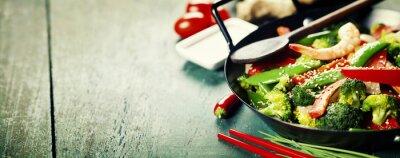 Plakát barevné hýbat smažit ve woku