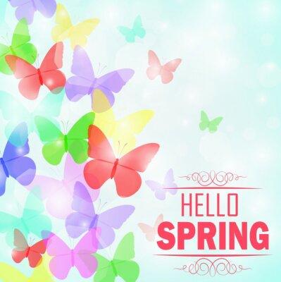 Plakát Barevné motýli pozadí s textem Hello Spring