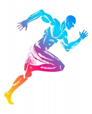Plakát Barevné postava muž běží