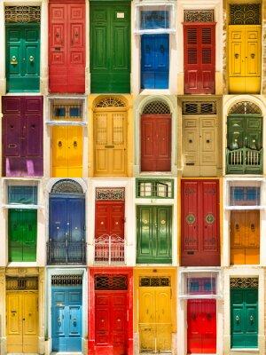 Plakát barevné přední dveře do domů