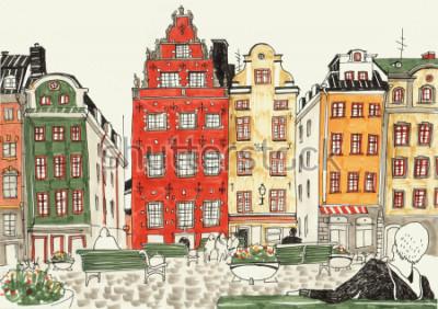 Plakát Barevné ručně tažené ilustrace stockholm domy, ulice skica Evropské město. Inkoust a fixky.