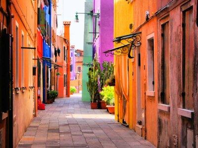 Plakát Barevné ulice v Burano, nedaleko Benátek, Itálie