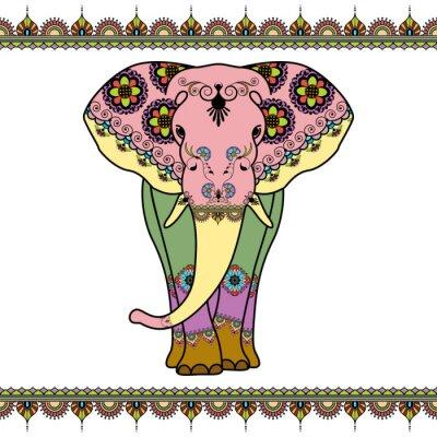 Plakát Barva slon s mezinárodním prvkem v etnickém stylu Mehndi. Vektorové černé a bílé ilustrace na bílém pozadí