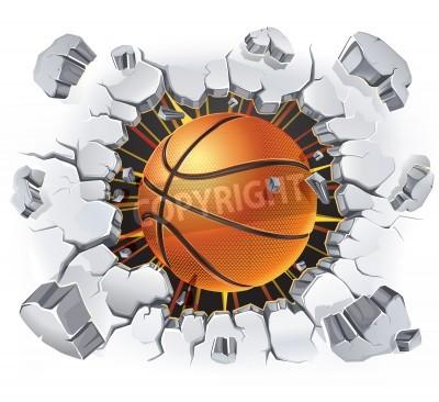 Plakát Basketbal a staré omítky poškození zeď ilustrace