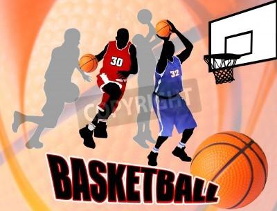 Plakát Basketbal akční hráči na krásné abstraktní pozadí. Klasický basketbal plakát ilustrace